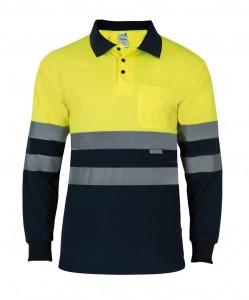 Polo bicolor amarillo-azul M/Larga