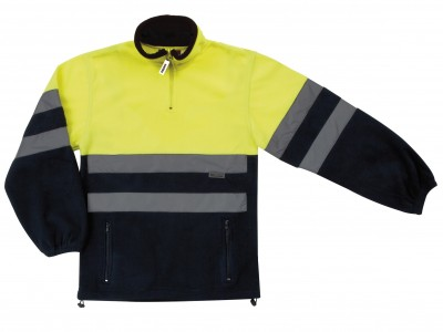 Forro polar bicolor amarillo/azul cierre cremallera