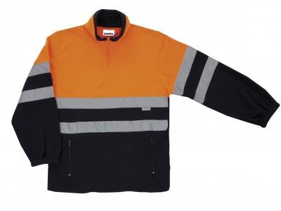 Forro polar bicolor naranja/azul cierre cremallera