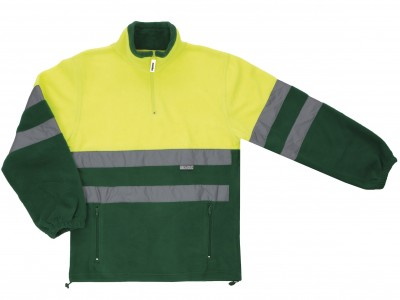 Forro polar bicolor amarillo/verde cierre cremallera