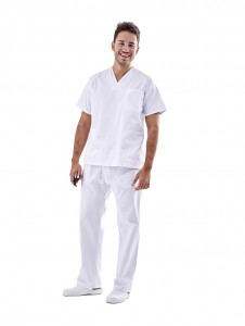 Pijama sanitario blanco cuello pico