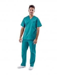 Pijama sanitario verde cuello pico
