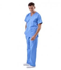 Pijama sanitario azul cuello pico
