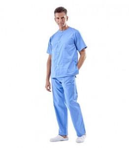 Pijama sanitario azul cuello redondo