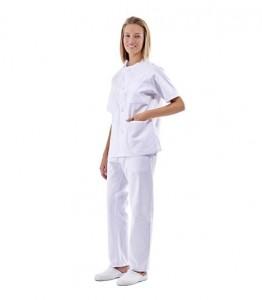 Pijama sanitario blanco cuello redondo