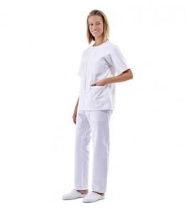 Pijama sanitario blanco cuello redondo con broches