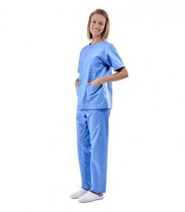 Pijama sanitario azul cuello redondo con broches