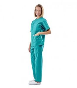 Pijama sanitario verde cuello redondo con broches