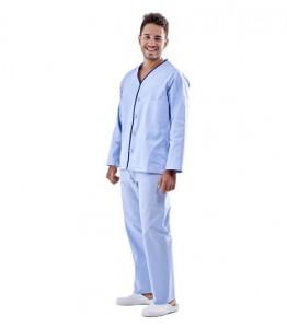 Pijama de enfermo celeste cierre botón