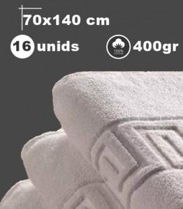Toalla blanca de baño, 16 unids, 70x140cm