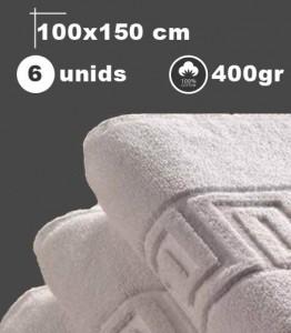 Toalla blanca de ducha, 6 unids, 50x100cm