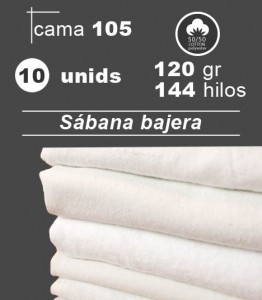 sabana blanca bajera cama 105 hosteleria hospital residencia pack