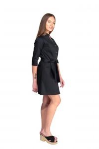 Bata de trabajo, manga francesa y cinturón delante. Color negro