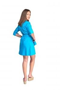 Bata de trabajo, manga francesa y cinturón delante. Color azul